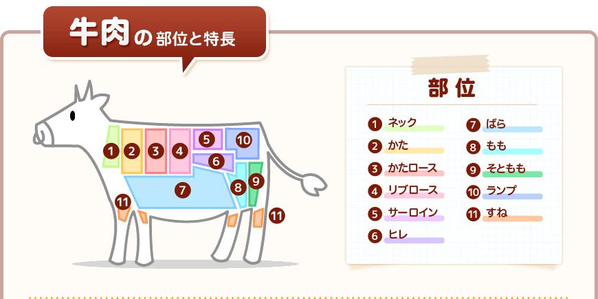 牛肉の部位と特長